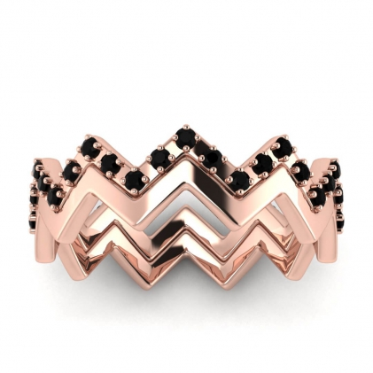 14k Rose Gold Adele Black Diamond Wedding Set