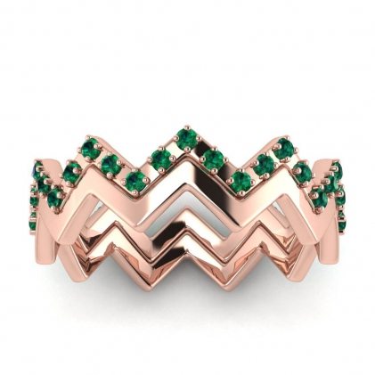 14k Rose Gold Adele Emerald Wedding Set