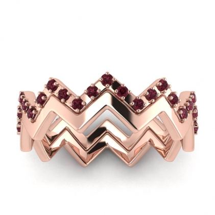14k Rose Gold Adele Garnet Wedding Set
