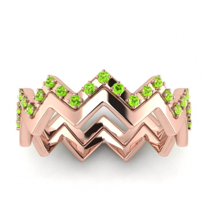 14k Rose Gold Adele Peridot Wedding Set