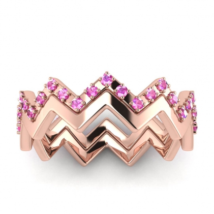 14k Rose Gold Adele Pink Sapphire Wedding Set