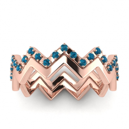 14k Rose Gold Adele Blue Topaz Wedding Set