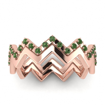 14k Rose Gold Adele Green Tourmaline Wedding Set