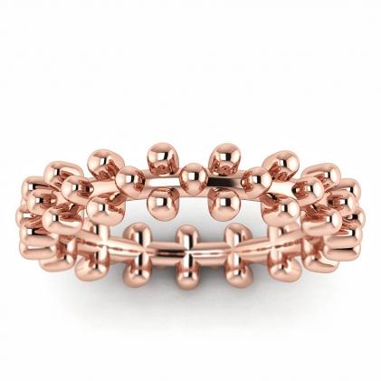 14k Rose Gold Unique Beaded Ring