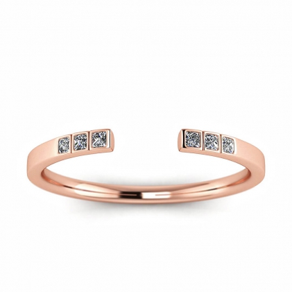 14k Rose Gold Hope Princess Cut Open Diamond Ring