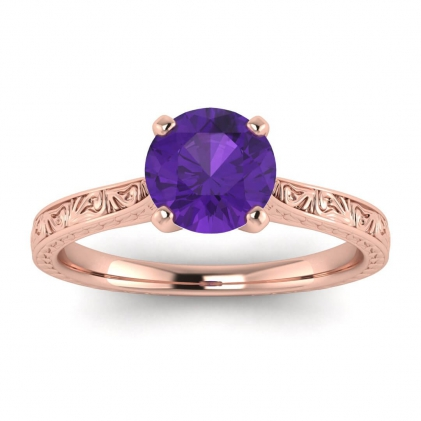 14k Rose Gold Everleigh Hand Engraved Amethyst Ring