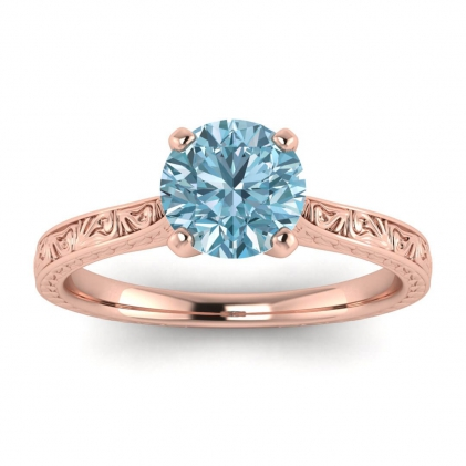 14k Rose Gold Everleigh Hand Engraved Aquamarine Ring