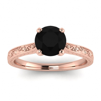 14k Rose Gold Everleigh Hand Engraved Black Diamond Ring