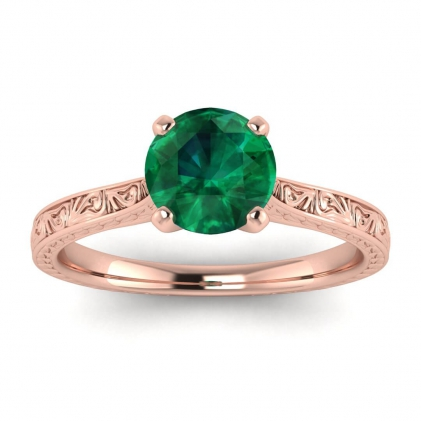 14k Rose Gold Everleigh Hand Engraved Emerald Ring