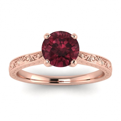 14k Rose Gold Everleigh Hand Engraved Garnet Ring