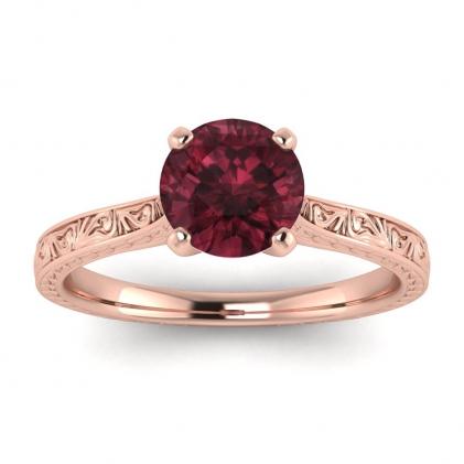 14k Rose Gold Everleigh Hand Engraved Garnet Ring
