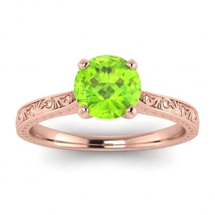 14k Rose Gold Everleigh Hand Engraved Peridot Ring