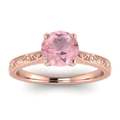 14k Rose Gold Everleigh Hand Engraved Rose Quartz Ring