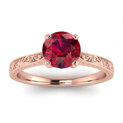 14k Rose Gold Everleigh Hand Engraved Ruby Ring