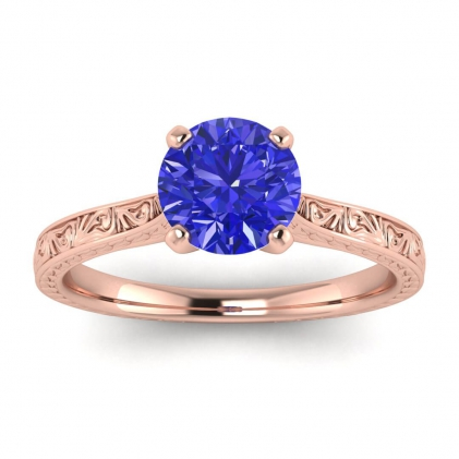 14k Rose Gold Everleigh Hand Engraved Sapphire Ring