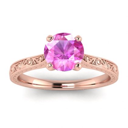 14k Rose Gold Everleigh Hand Engraved Pink Sapphire Ring