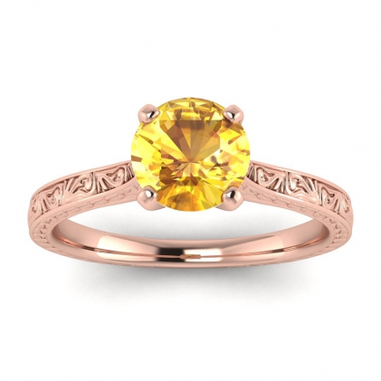 14k Rose Gold Everleigh Hand Engraved Yellow Sapphire Ring