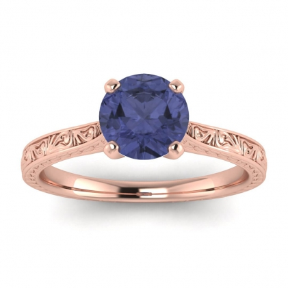 14k Rose Gold Everleigh Hand Engraved Tanzanite Ring