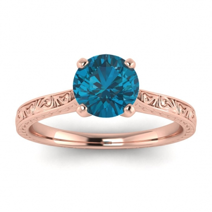 14k Rose Gold Everleigh Hand Engraved Blue Topaz Ring