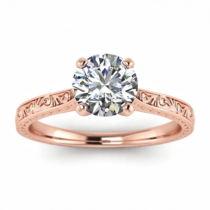 14k Rose Gold Everleigh Hand Engraved Ring