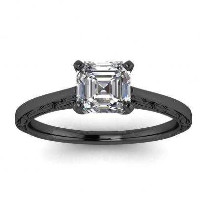 14k Black Gold Aphrodite Hand Engraved Asscher Cut Diamond Ring