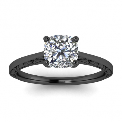 14k Black Gold Aphrodite Hand Engraved Cushion Cut Diamond Ring