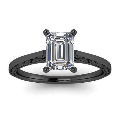 14k Black Gold Aphrodite Hand Engraved Emerald Cut Diamond Ring