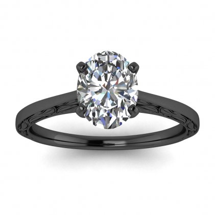 14k Black Gold Aphrodite Hand Engraved Oval Diamond Ring