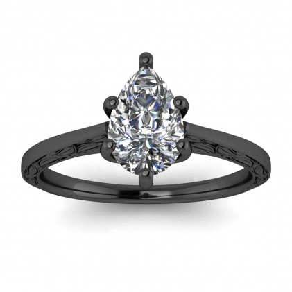 14k Black Gold Aphrodite Hand Engraved Pear Shaped Diamond Ring