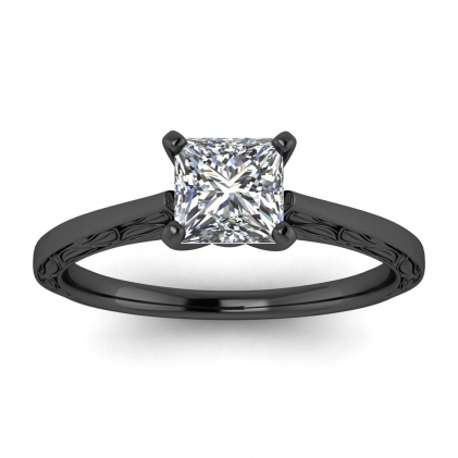14k Black Gold Aphrodite Hand Engraved Princess Cut Diamond Ring