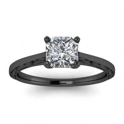 14k Black Gold Aphrodite Hand Engraved Radiant Cut Diamond Ring