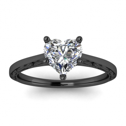 14k Black Gold Aphrodite Hand Engraved Heart Shaped Diamond Ring