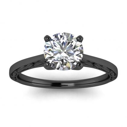 14k Black Gold Aphrodite Hand Engraved Ring