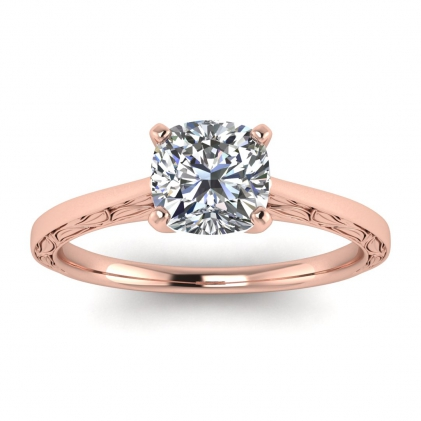14k Rose Gold Aphrodite Hand Engraved Cushion Cut Diamond Ring