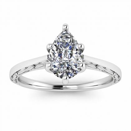 14k White Gold Aphrodite Hand Engraved Pear Shaped Diamond Ring