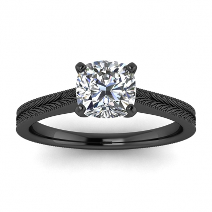 14k Black Gold Clio Milgrained Cushion Cut Diamond Ring