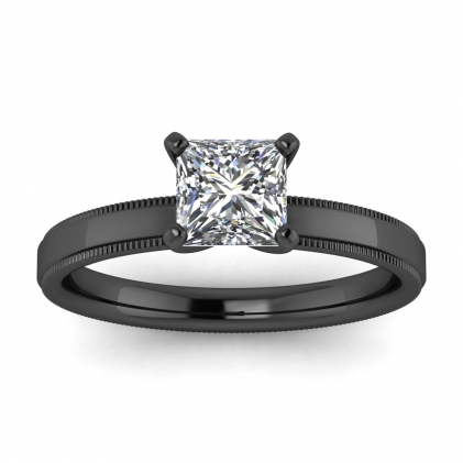 14k Black Gold Aubrey Princess Cut Diamond Milgrained Engagement Ring