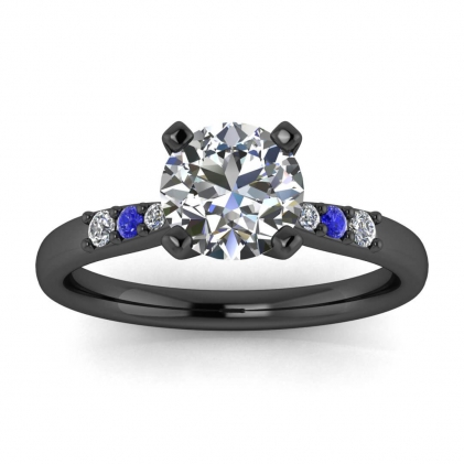 14k Black Gold Bea Tapered Pave Diamond and Sapphire