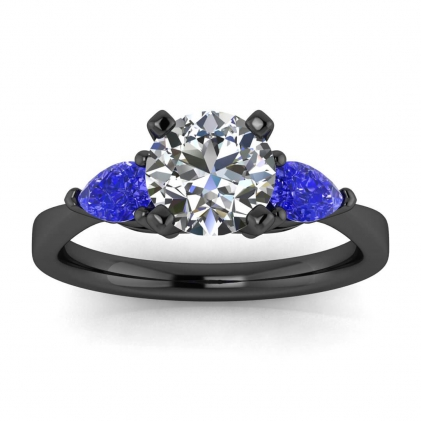 14k Black Gold Noa Diamond and Sapphire Pear Accent Ring