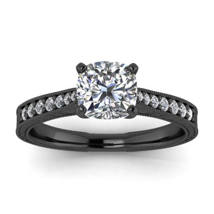 14k Black Gold Aya Hand Engraved Cushion Cut Diamond Ring (1/8 CT. TW.)