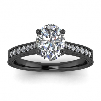 14k Black Gold Aya Hand Engraved Oval Diamond Ring (1/8 CT. TW.)
