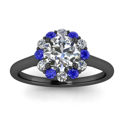 14k Black Gold Kiera Open Halo Diamond and Sapphire Ring