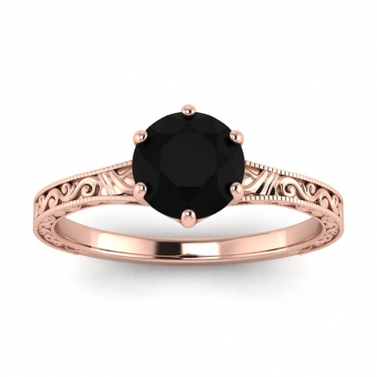 14k Rose Gold Corinne Scrollwork Engraving Black Diamond Ring