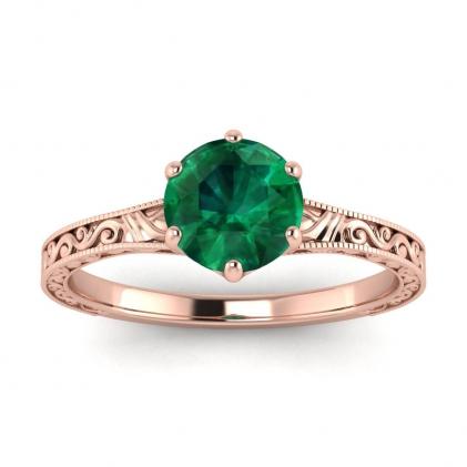 14k Rose Gold Corinne Scrollwork Engraving Emerald Ring
