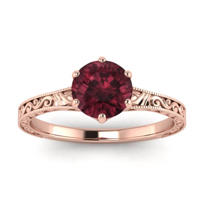 14k Rose Gold Corinne Scrollwork Engraving Garnet Ring