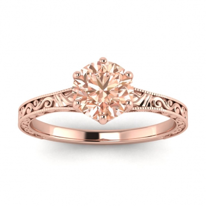 14k Rose Gold Corinne Scrollwork Engraving Morganite Ring