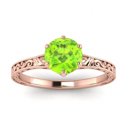 14k Rose Gold Corinne Scrollwork Engraving Peridot Ring