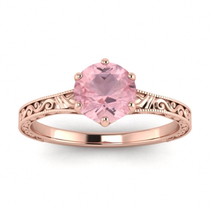 14k Rose Gold Corinne Scrollwork Engraving Rose Quartz Ring