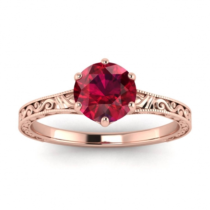 14k Rose Gold Corinne Scrollwork Engraving Ruby Ring