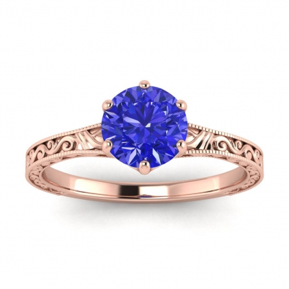 14k Rose Gold Corinne Scrollwork Engraving Sapphire Ring